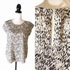 JOIE All Over Speckled Print Short Sleeve Blouse